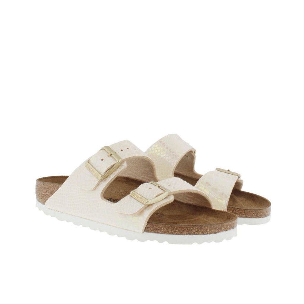 Birkenstock Sandals - Arizona BS Narrow Fit Sandal Shiny Snake Cream - in white - Sandals for ladies