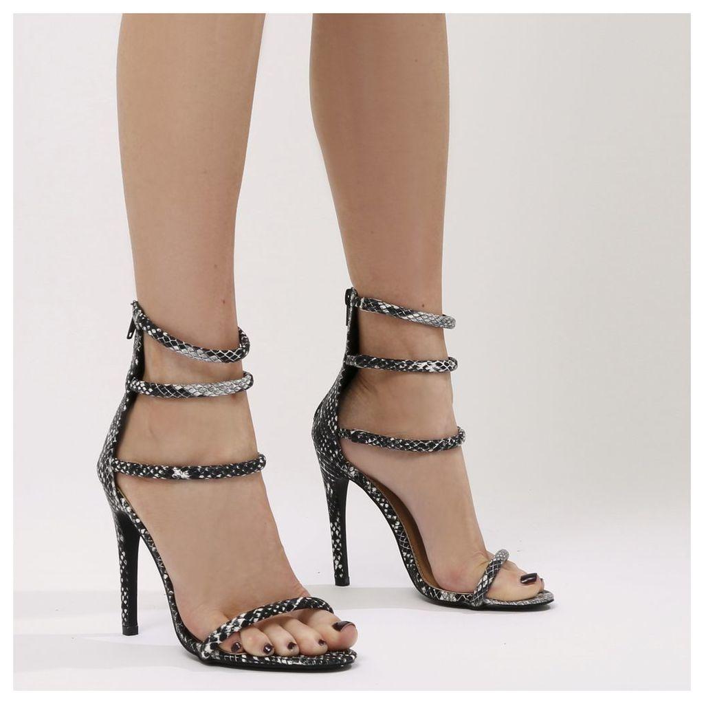 Nikki Strappy Stilettos in Faux Snake, Grey