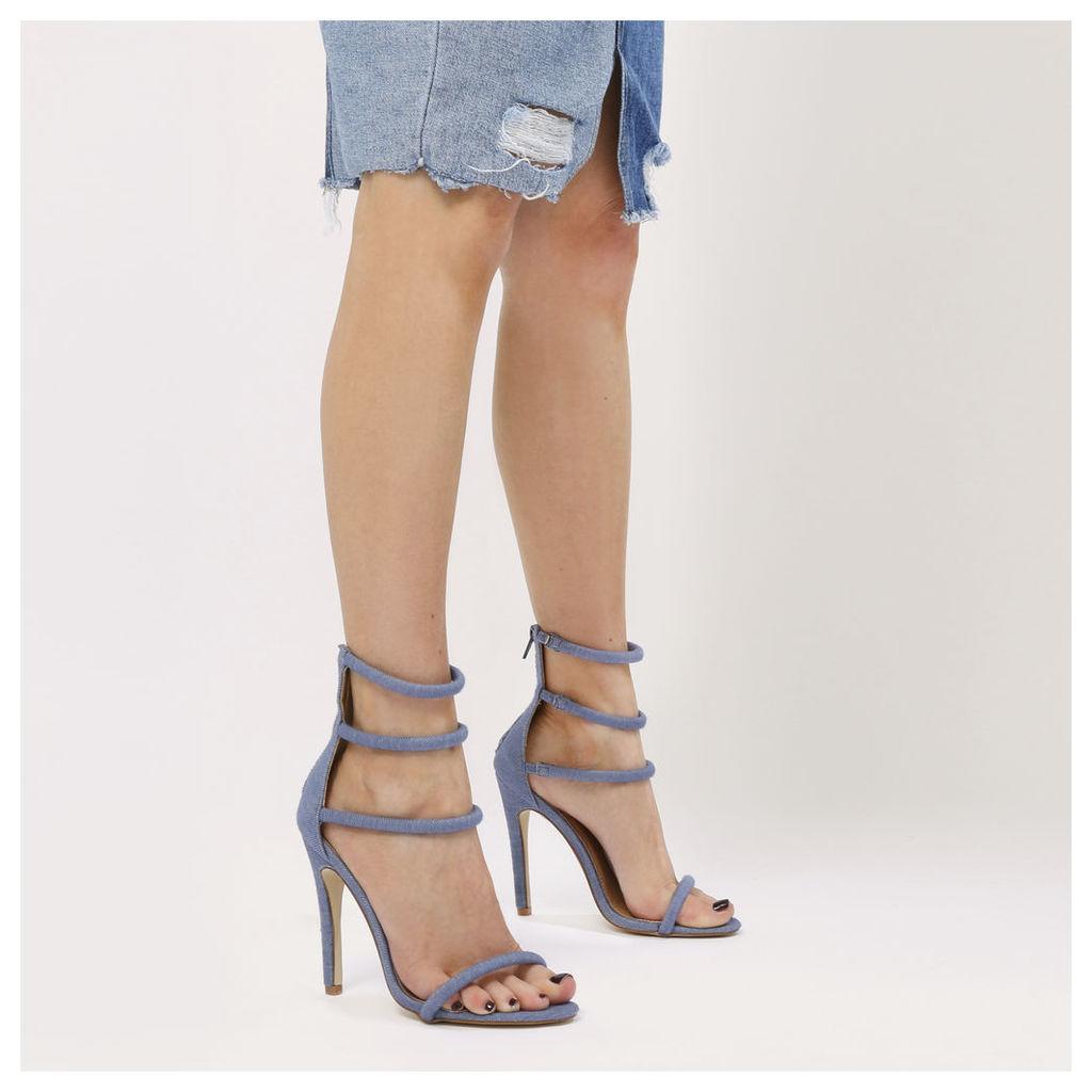 Nikki Strappy Stilettos  Denim, Blue