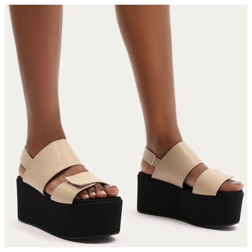 Pixie Velcro Strap Flatform Sandals, Nude