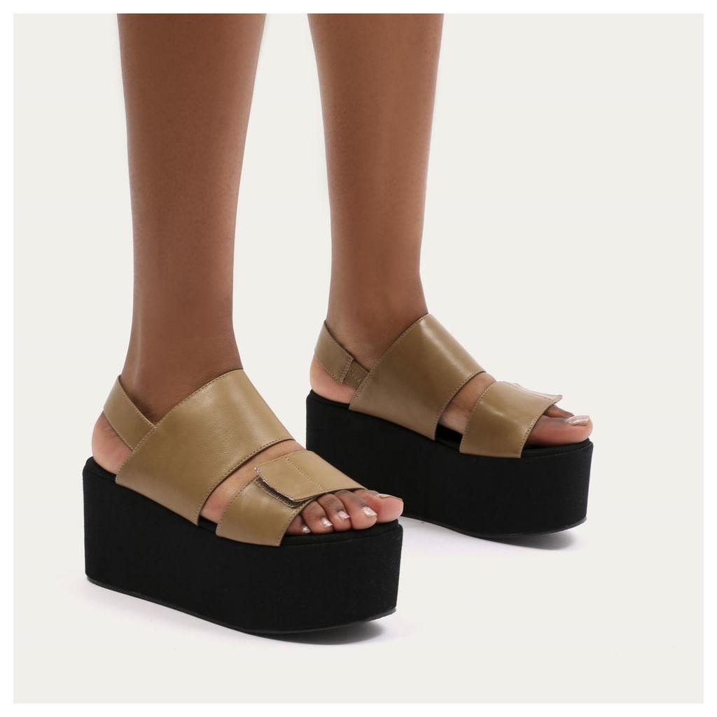Pixie Velcro Strap Flatform Sandals in Tan, Green