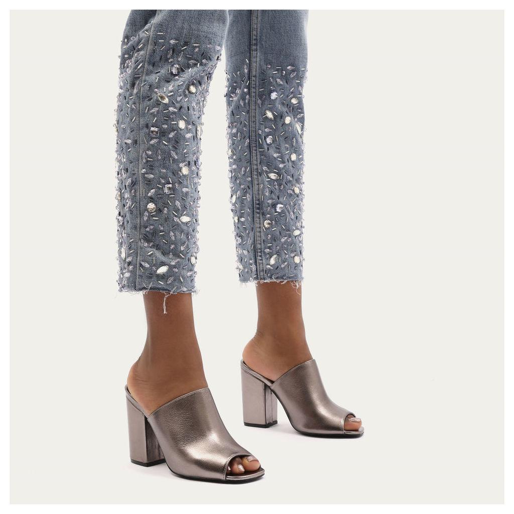 Sian Metallic Block Heel Mules in Pewter, Silver