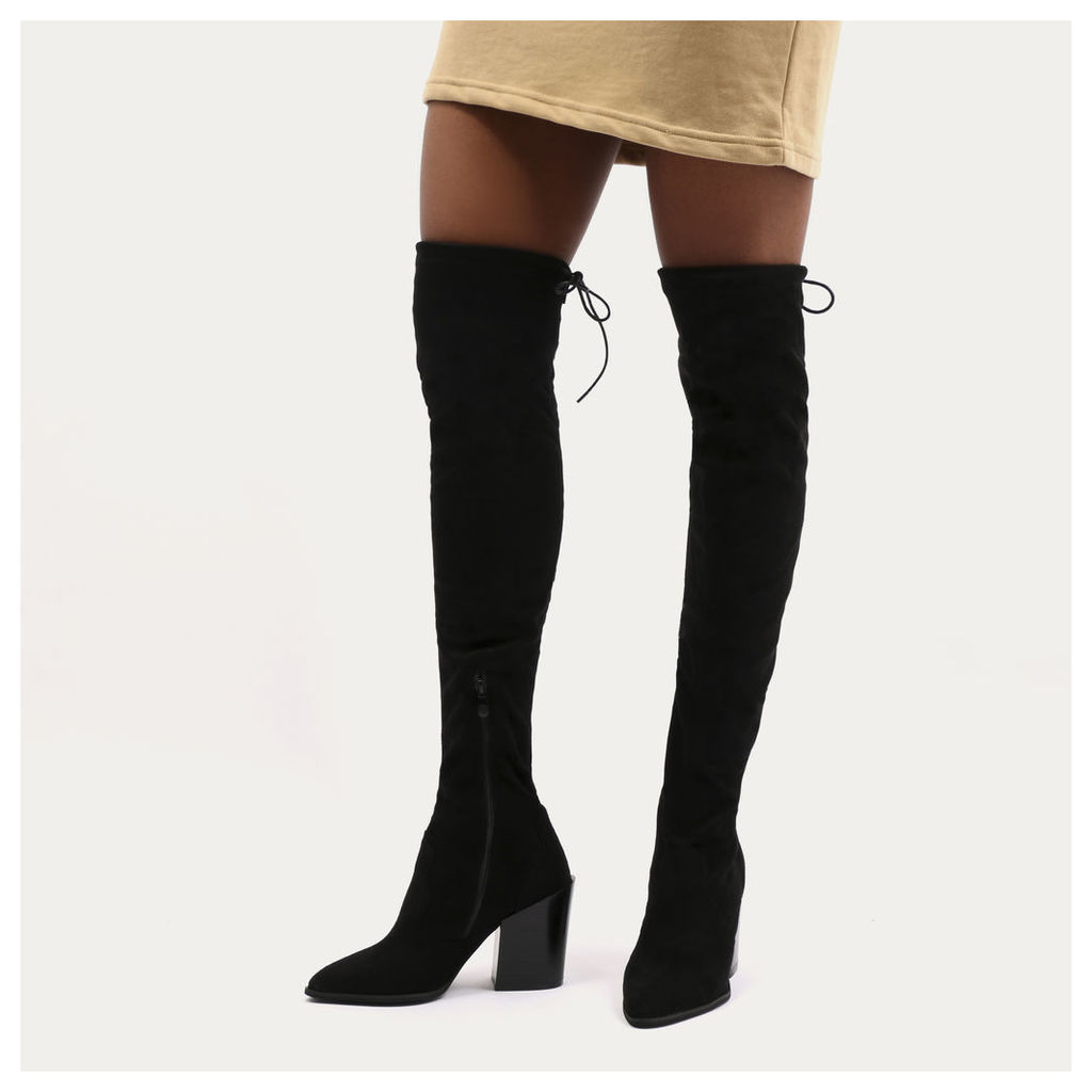 Sydney Western Style Long Boots  Faux Suede, Black