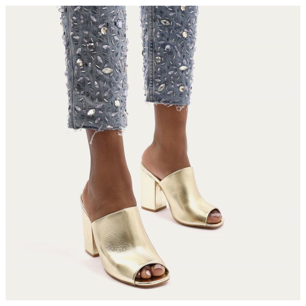 Sian Metallic Block Heel Mules, Gold