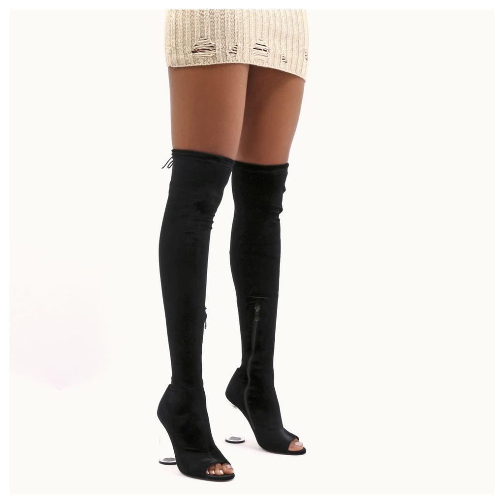 London Perspex Flare Heel Long Boots  Velvet, Black