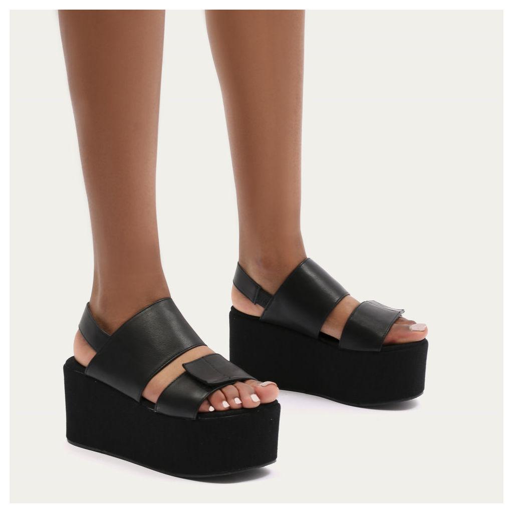Pixie Velcro Strap Flatform Sandals, Black