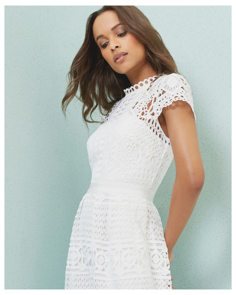 Ted Baker Scalloped lace tulip dress White