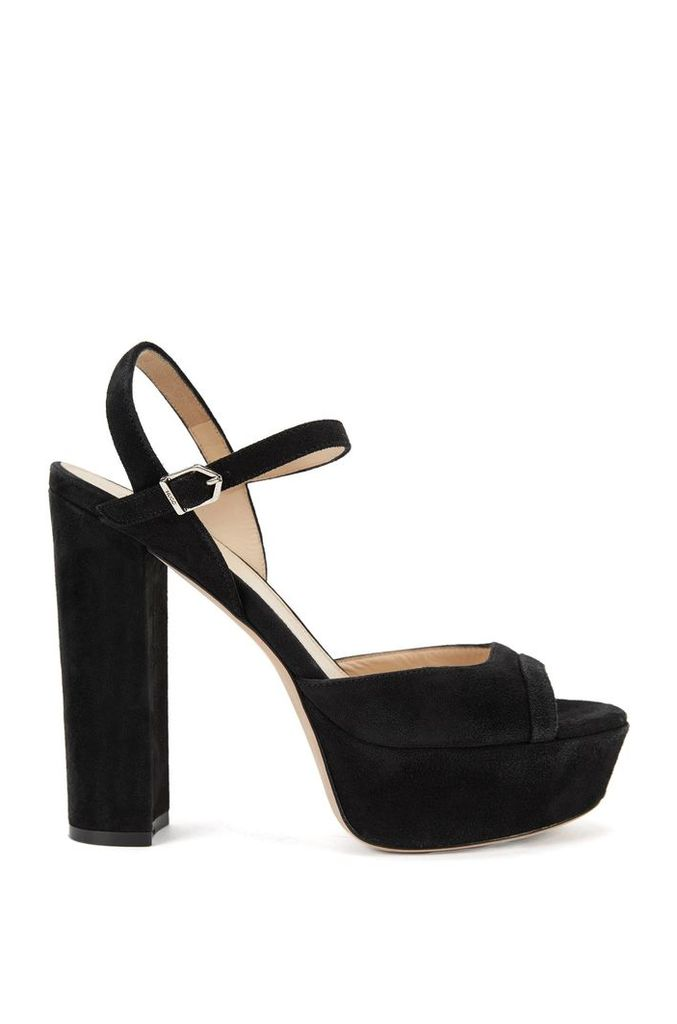 Platform sandals in suede with ankle strap