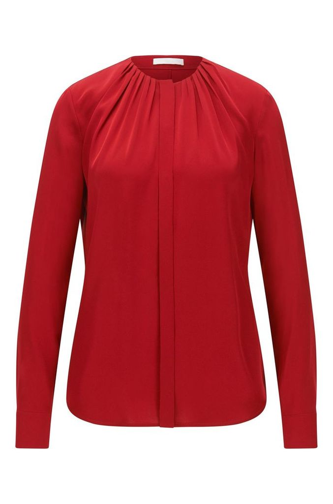 Silk-blend blouse with gathered neckline