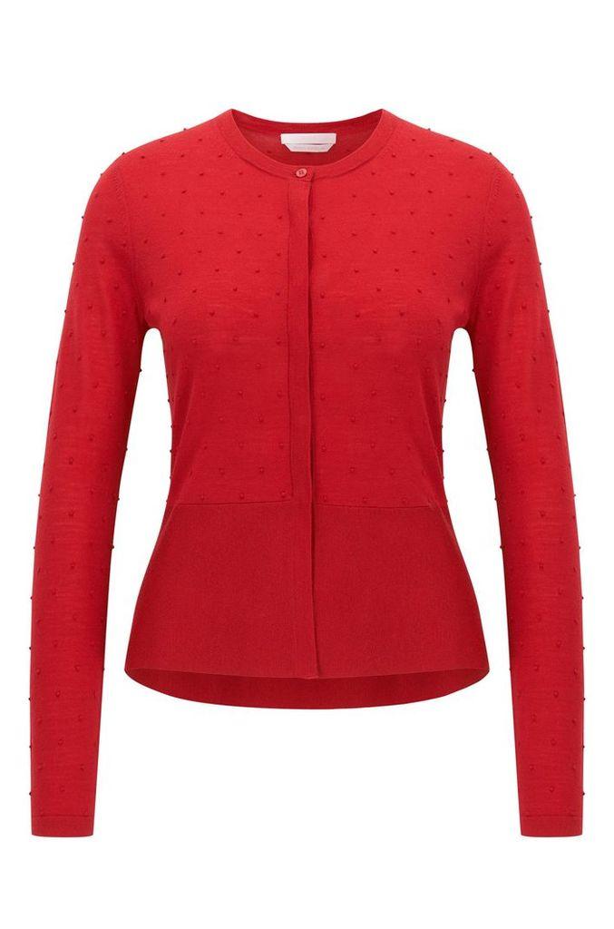 Slim-fit cardigan in structured merino wool
