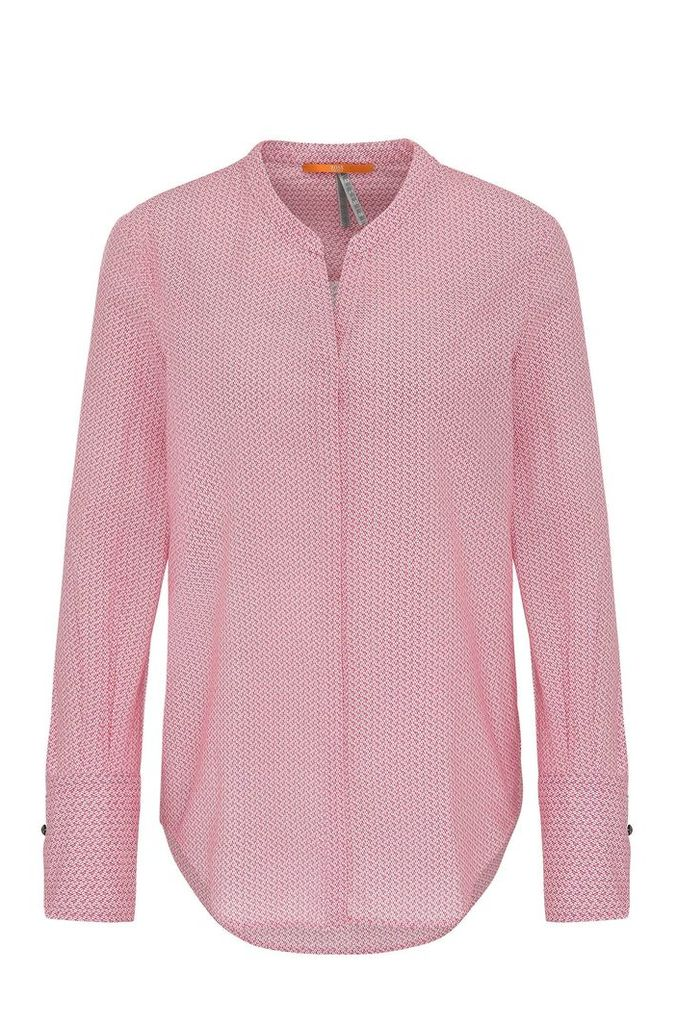 Regular-fit cotton voile blouse in mini geometric pattern