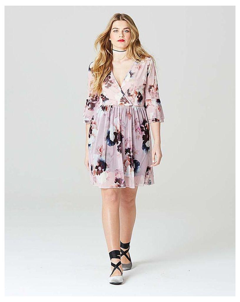 Simply Be Wrap Print Mesh Dress