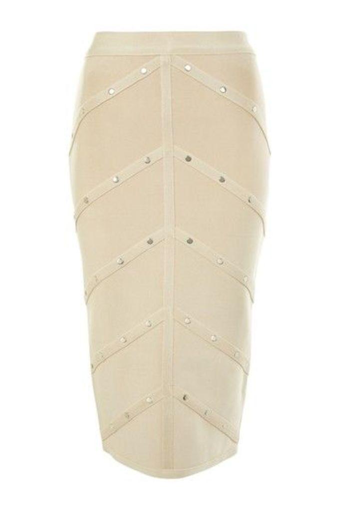 Womens Bandage Stud Skirt - Nude, Nude