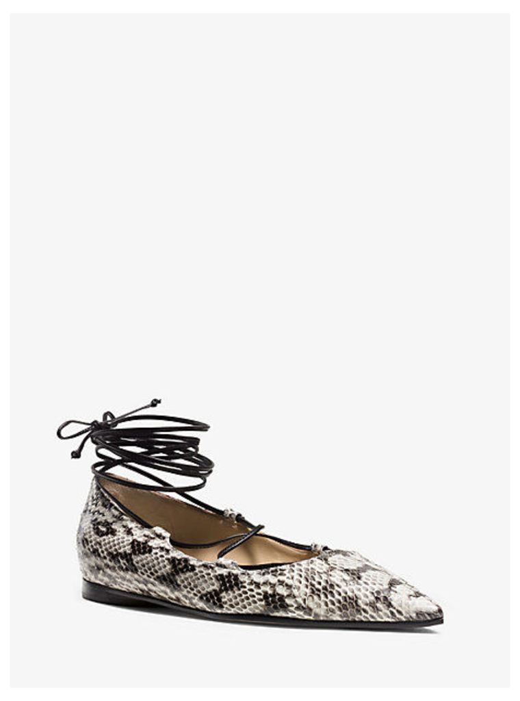 Kallie Lace-Up Embossed-Leather Flat