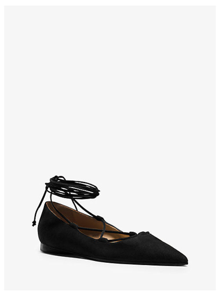 Kallie Runway Suede Lace-Up Flat