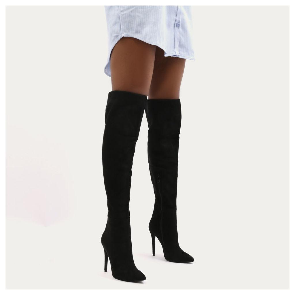 Raquel Over The Knee Heels  Faux Suede, Black