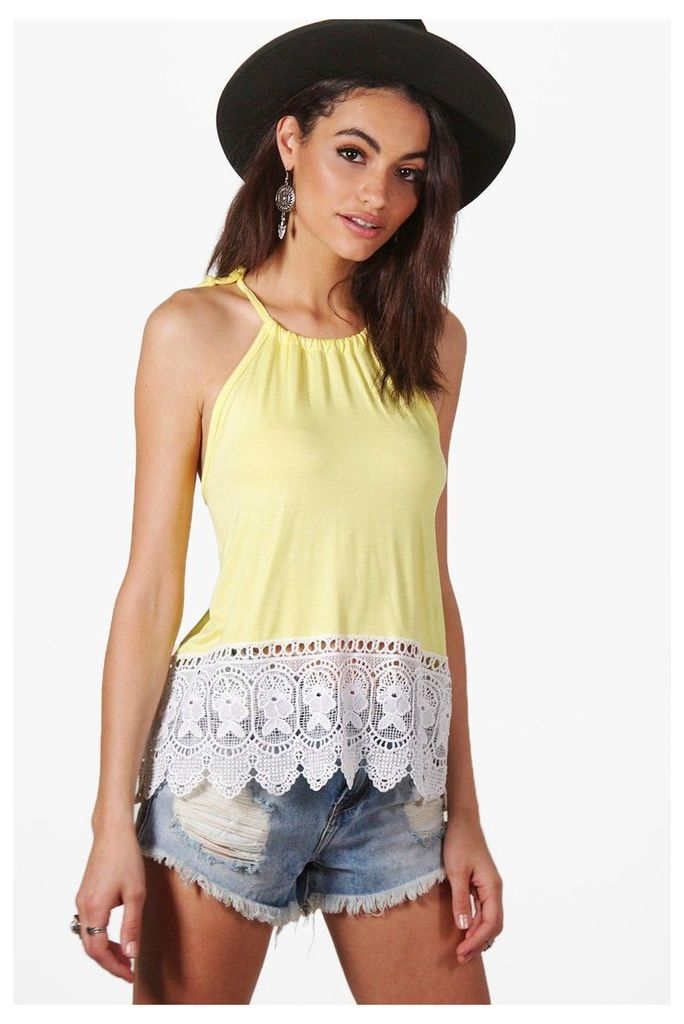 Halter Crochet Trim Top - lemon