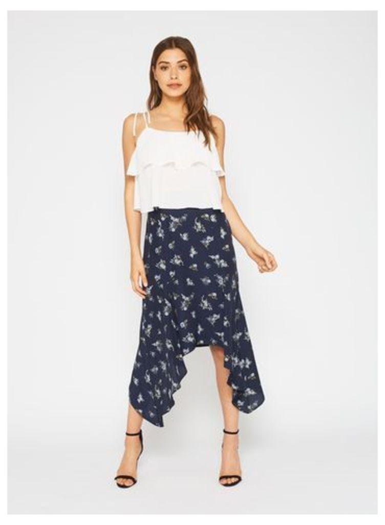 Womens Navy Floral Hanky Hem Skirt, Navy