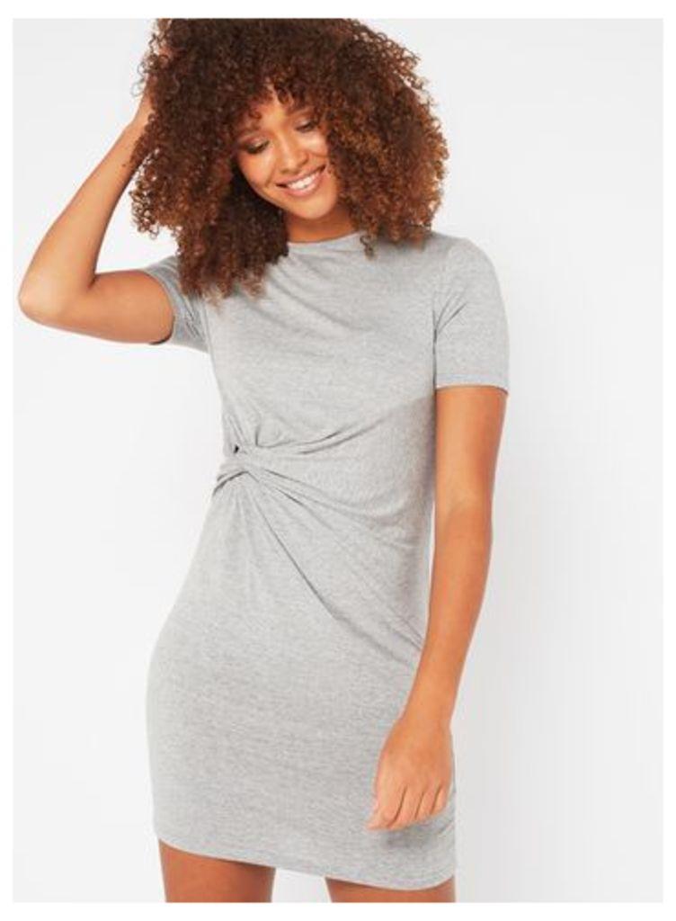 Womens PETITE Knot T-Shirt Dress, Grey Marl