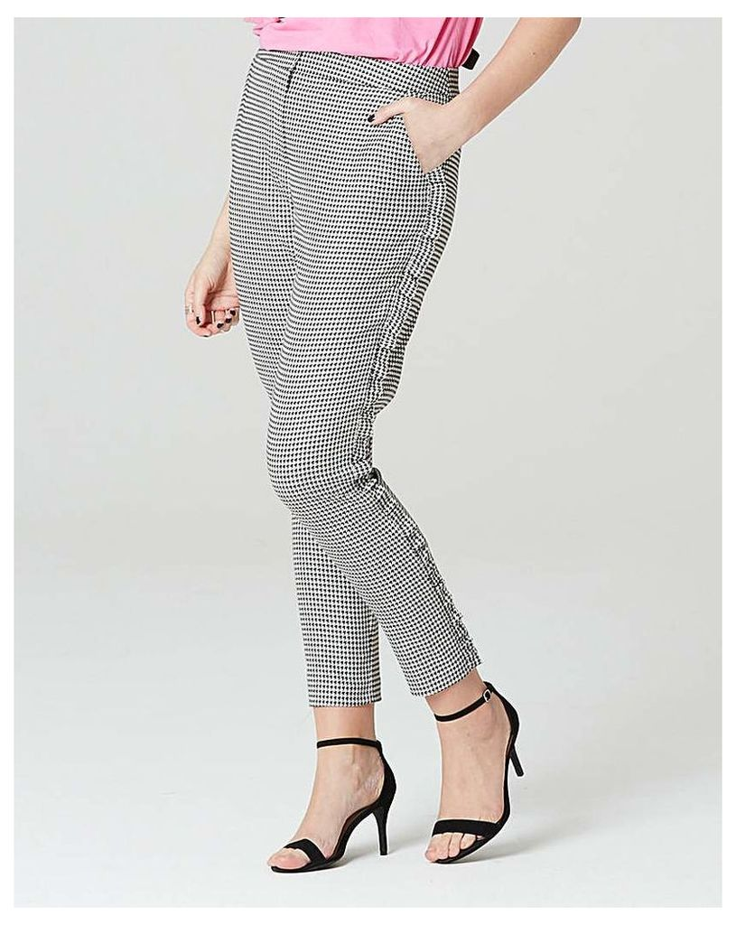 Simply Be Puppy Tooth Side Frill Trouser