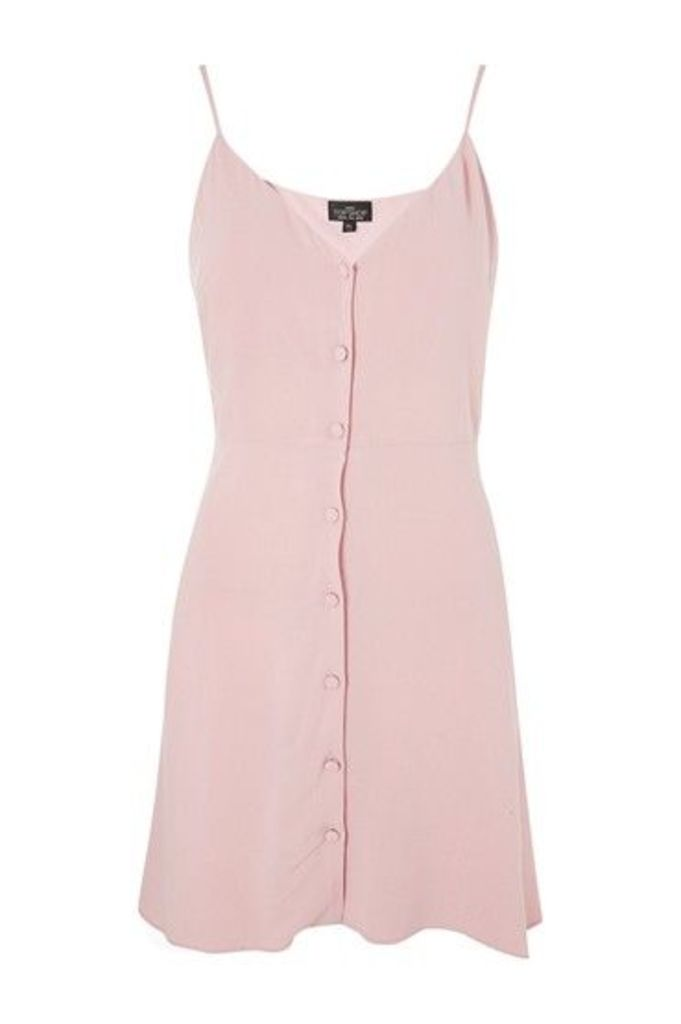 Womens PETITE Button Asymmetric Dress - Pale Pink, Pale Pink