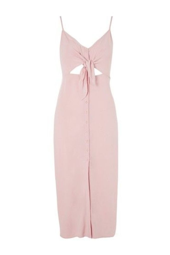 Womens Knot Front Midi Dress - Pale Pink, Pale Pink
