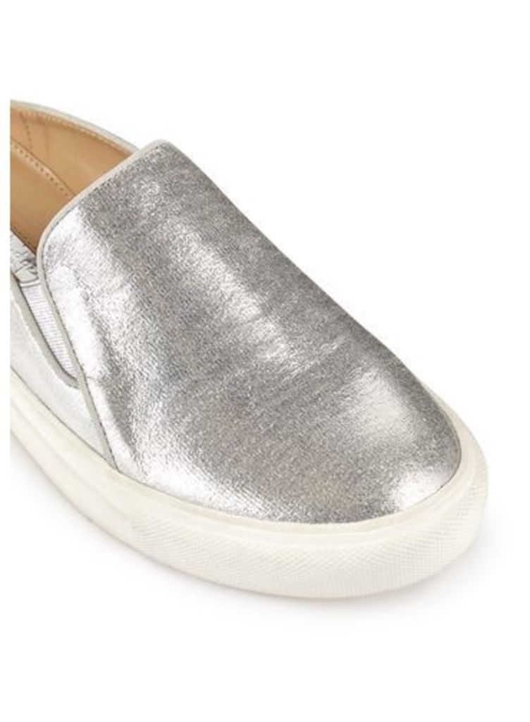 Womens ERIN Backless Trainer, Silver Colour
