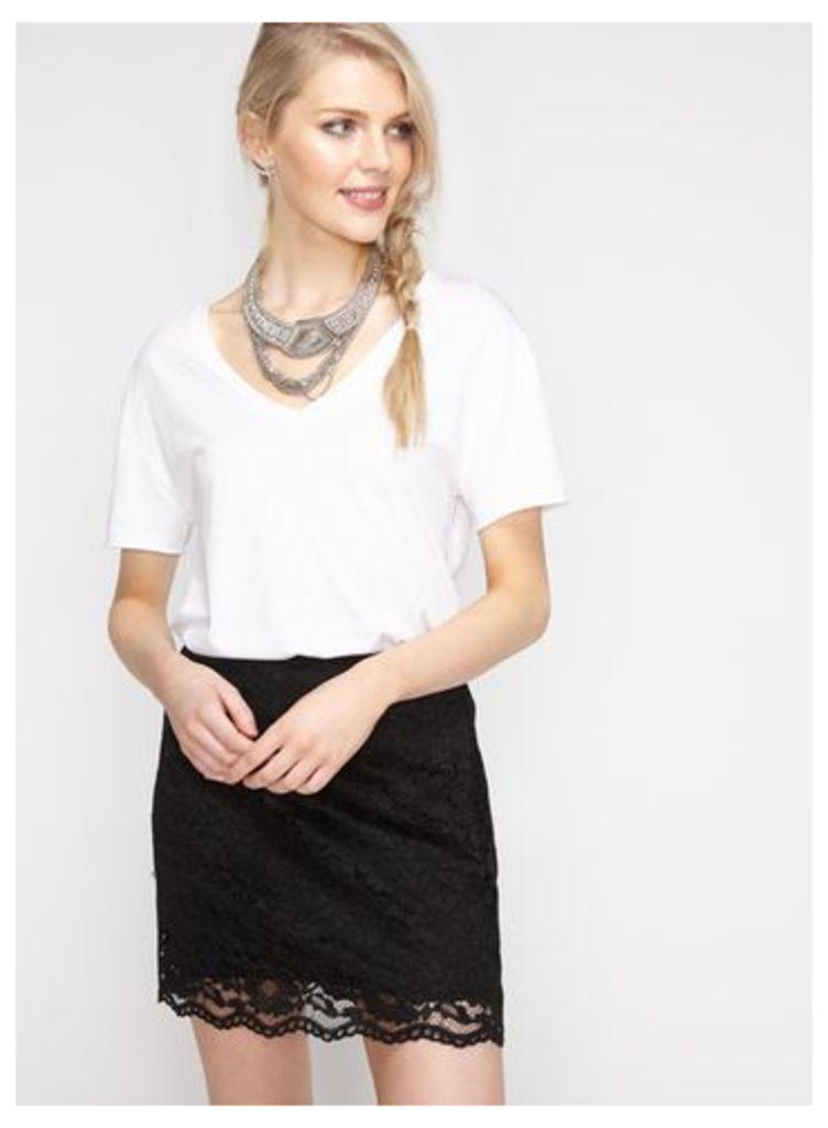 Womens Black Lace A-line Mini Skirt, Black