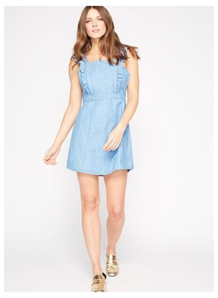 Womens PETITE Denim Pinafore Dress, Blue