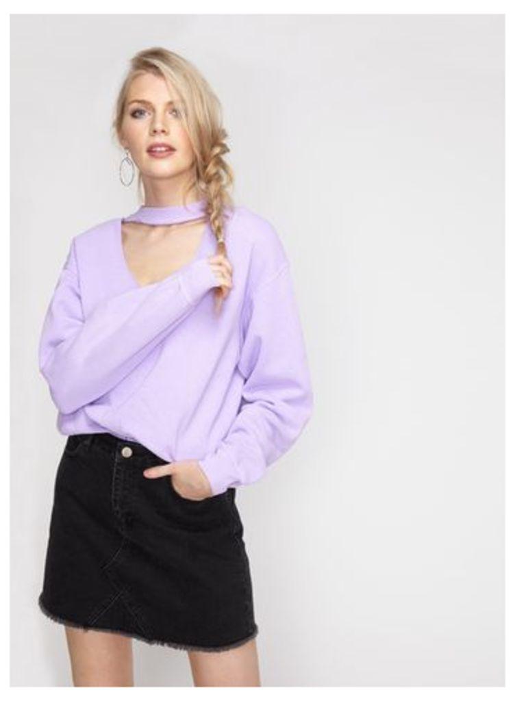 Womens Lilac Choker Neck Sweatshirt, Lilac
