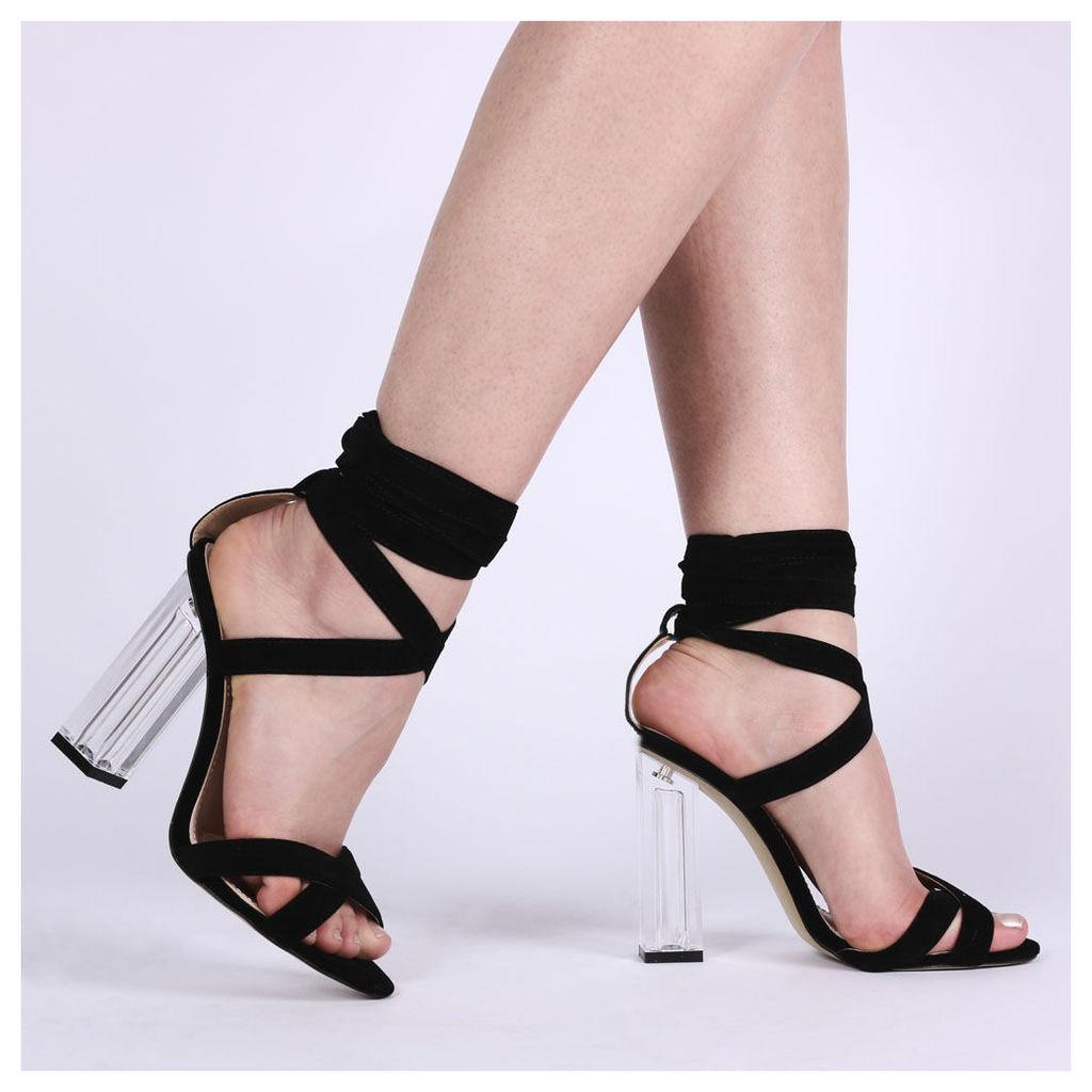 Ariel Perspex High Heels  Faux Suede, Black