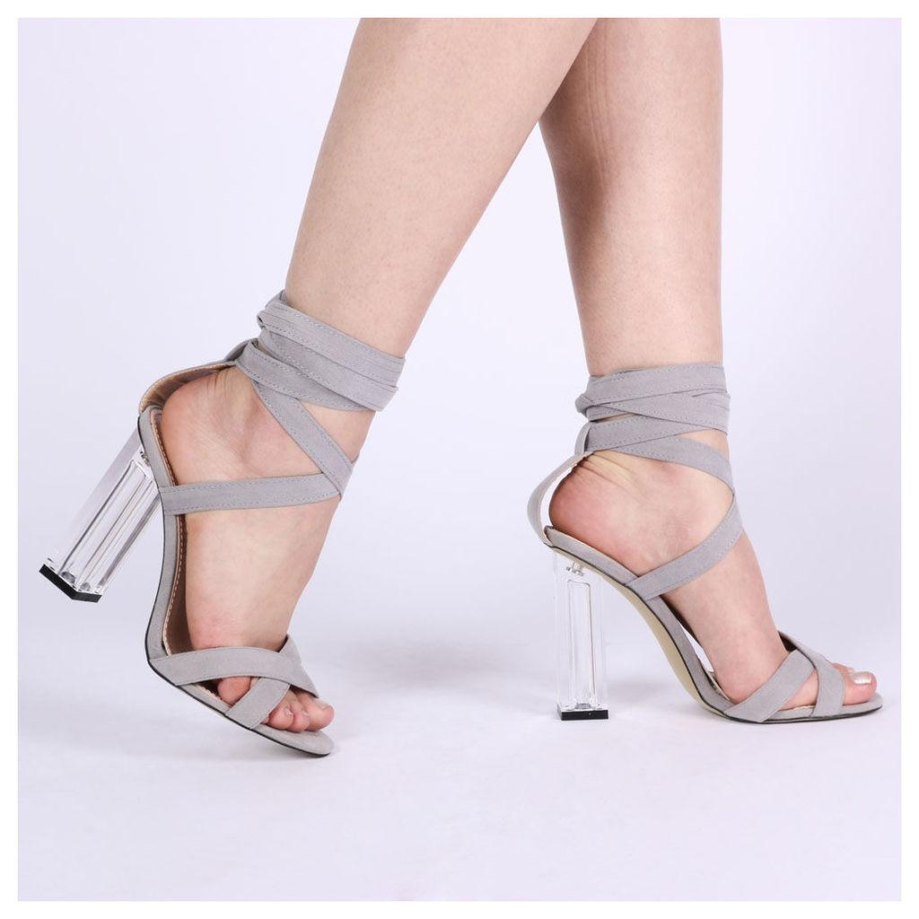 Ariel Perspex High Heels  Faux Suede, Grey