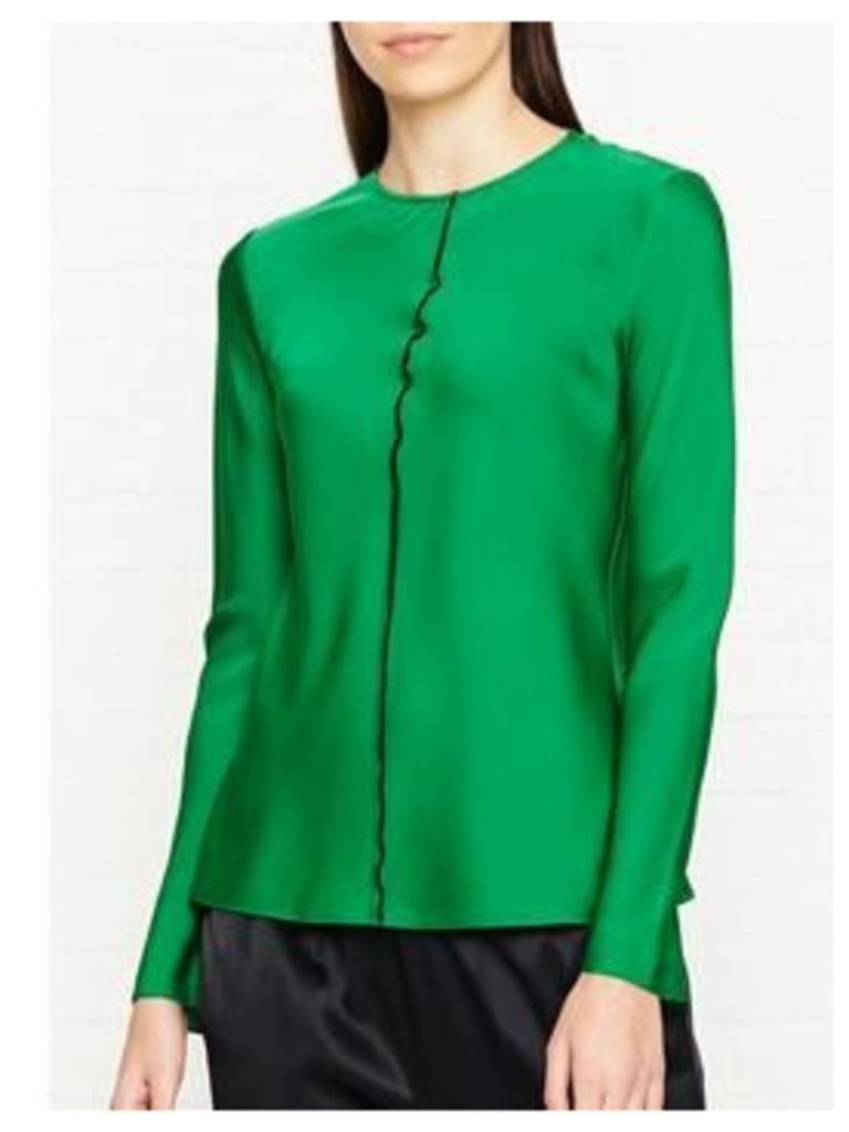 Dkny Long Sleeve Top With Exposed Seam - Green, Size Us 4 = Uk 8