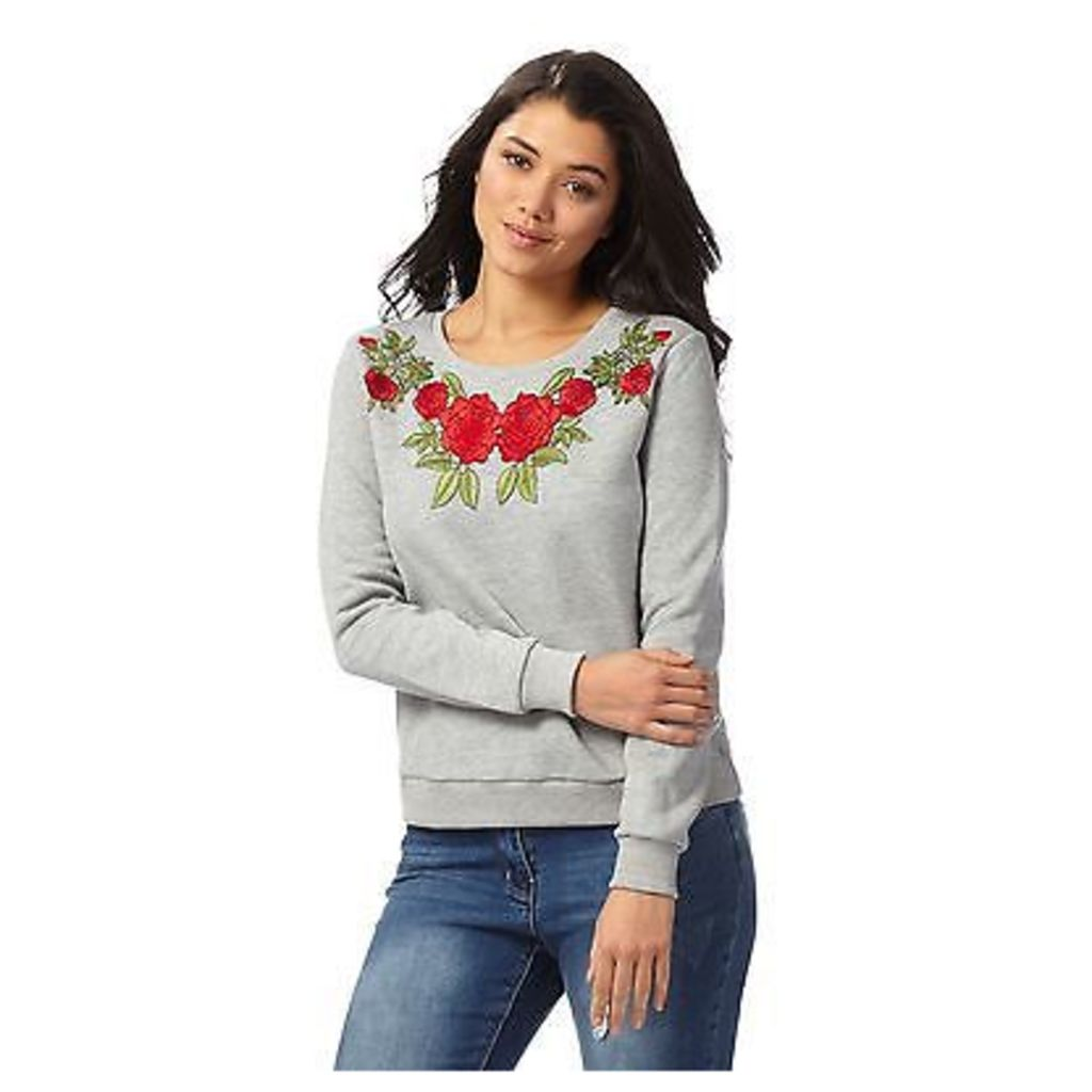 Red Herring Womens Grey Rose Embroidered Sweater From Debenhams