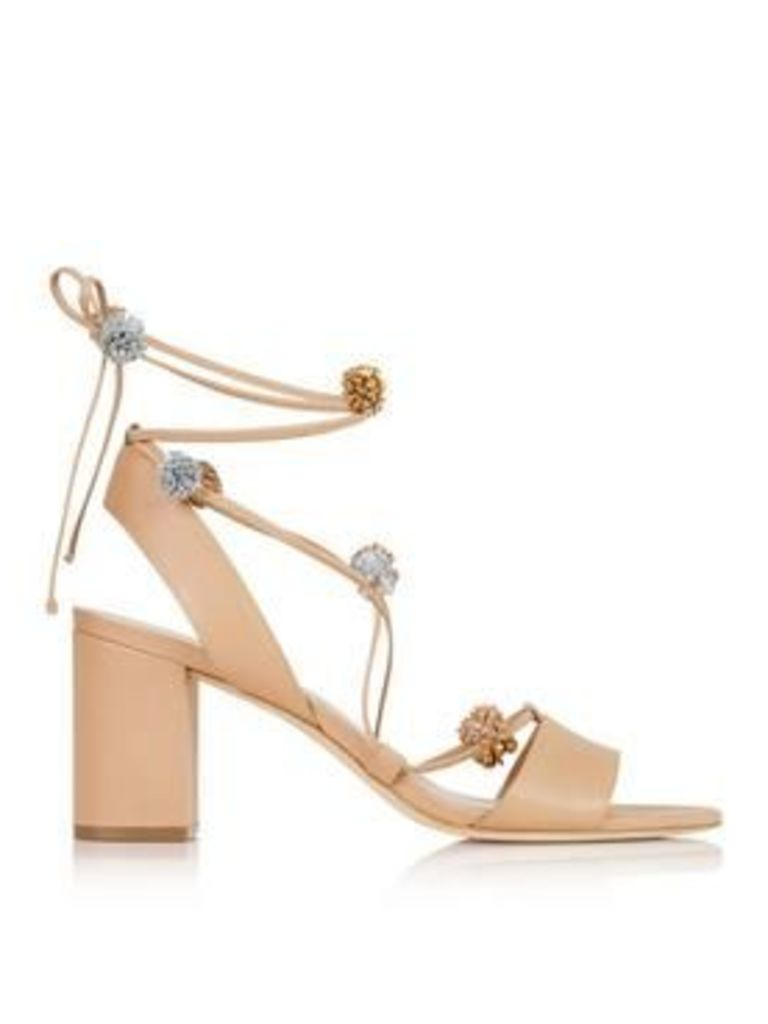 Loeffler Randall Bea Leather Lace-Up Pom Pom Sandals - Nude