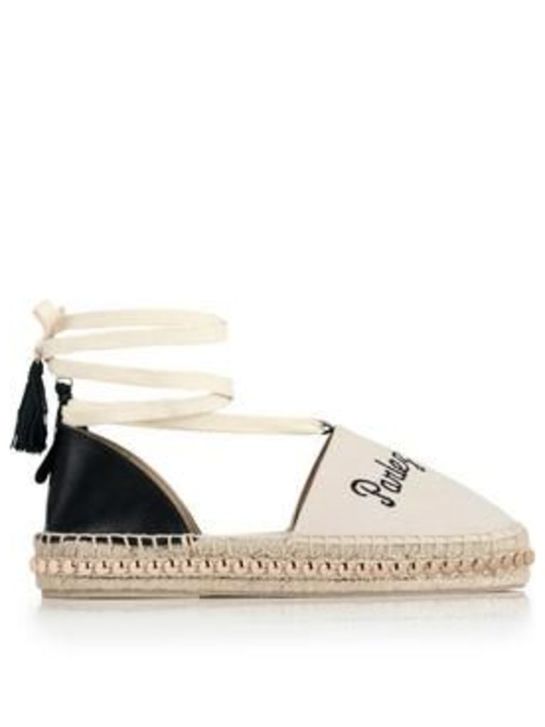 Kurt Geiger London Pierre Lace Up Embroidered Espadrille - Off White