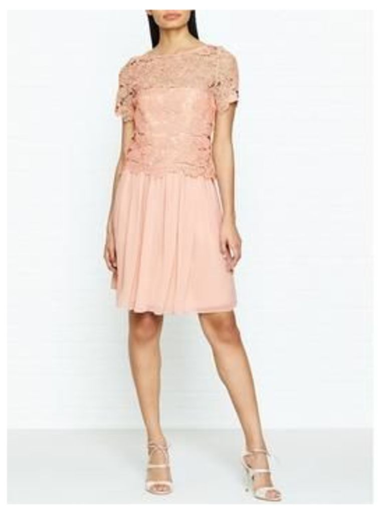 Reiss Milla Lace Occasion Dress - Pink