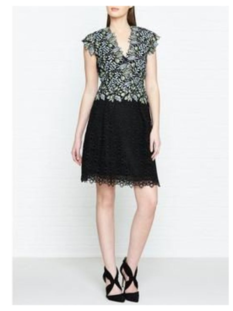 Reiss Idie Lace Contrast Embroidered Dress - Blue/Black