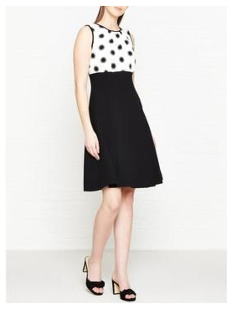 Hobbs Sun Spot Fit And Flare Dress - Ivory/Black