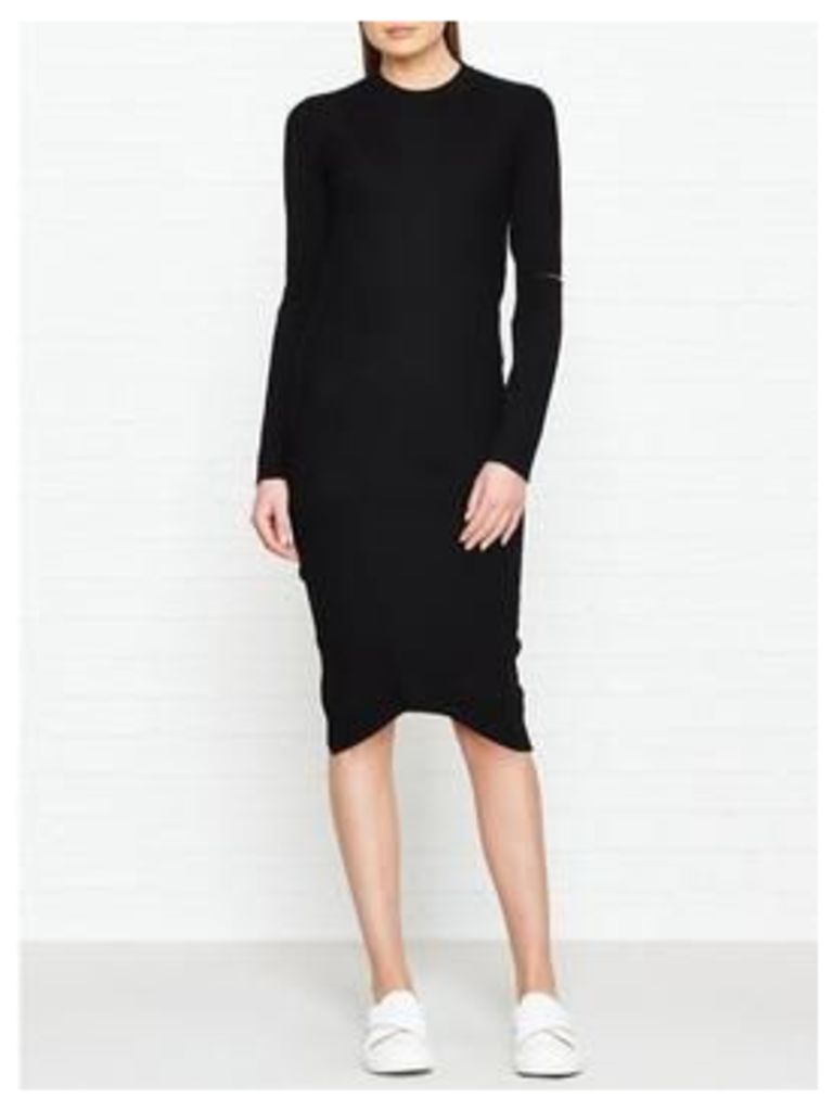 Dkny Long Sleeve Crew Neck Dress With Cut-Out Sleeves - Black, Size L