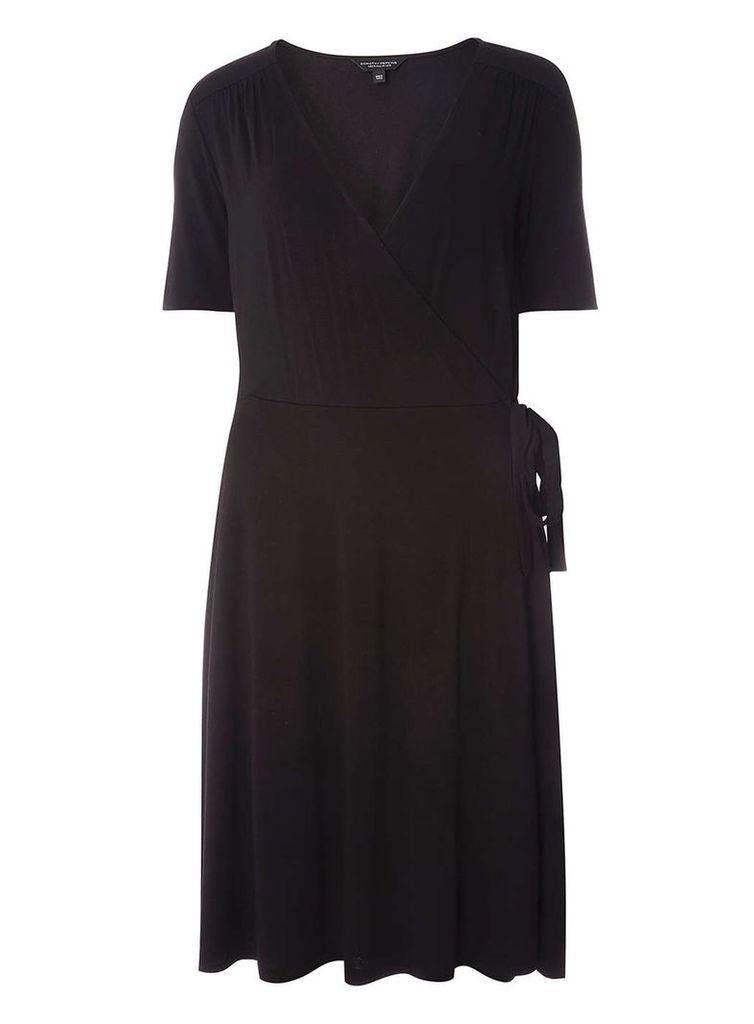 Womens **Tall Black Wrap Dress- Black