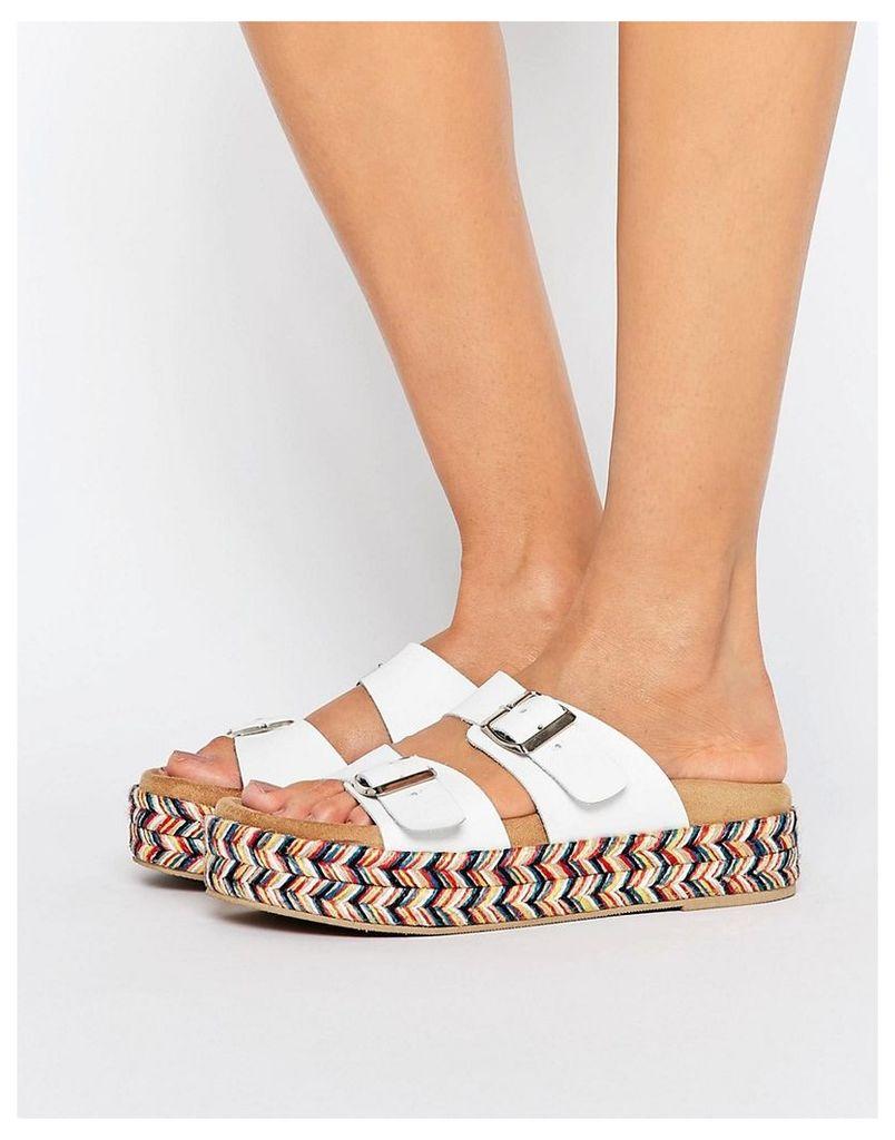 SixtySeven White Multi Strap Espadrille Slide Flat Sandals - White