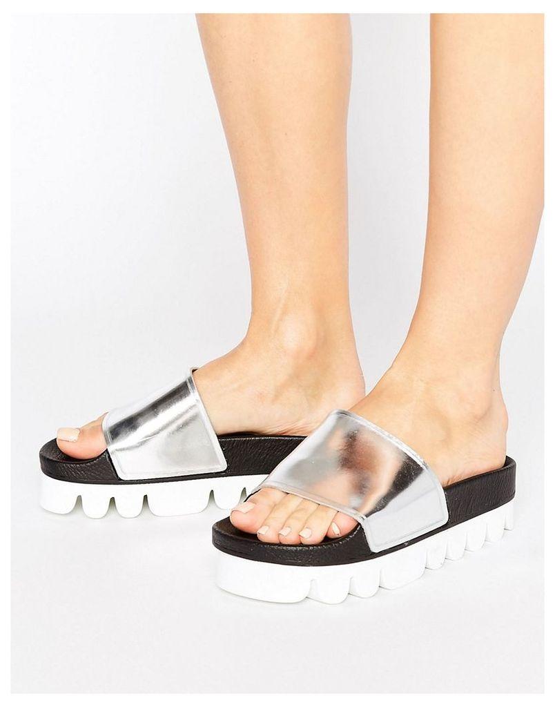 SixtySeven Silver Flatform Slide Flat Sandals - Silver metallic