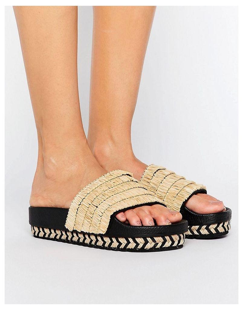 SixtySeven Natural Raffia Espadrille Slide Flat Sandals - Natural raffia