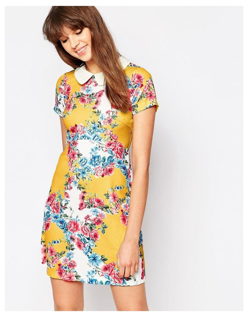 Traffic People Singing Garlands Perfect Penny Dress With Collar - Multi
