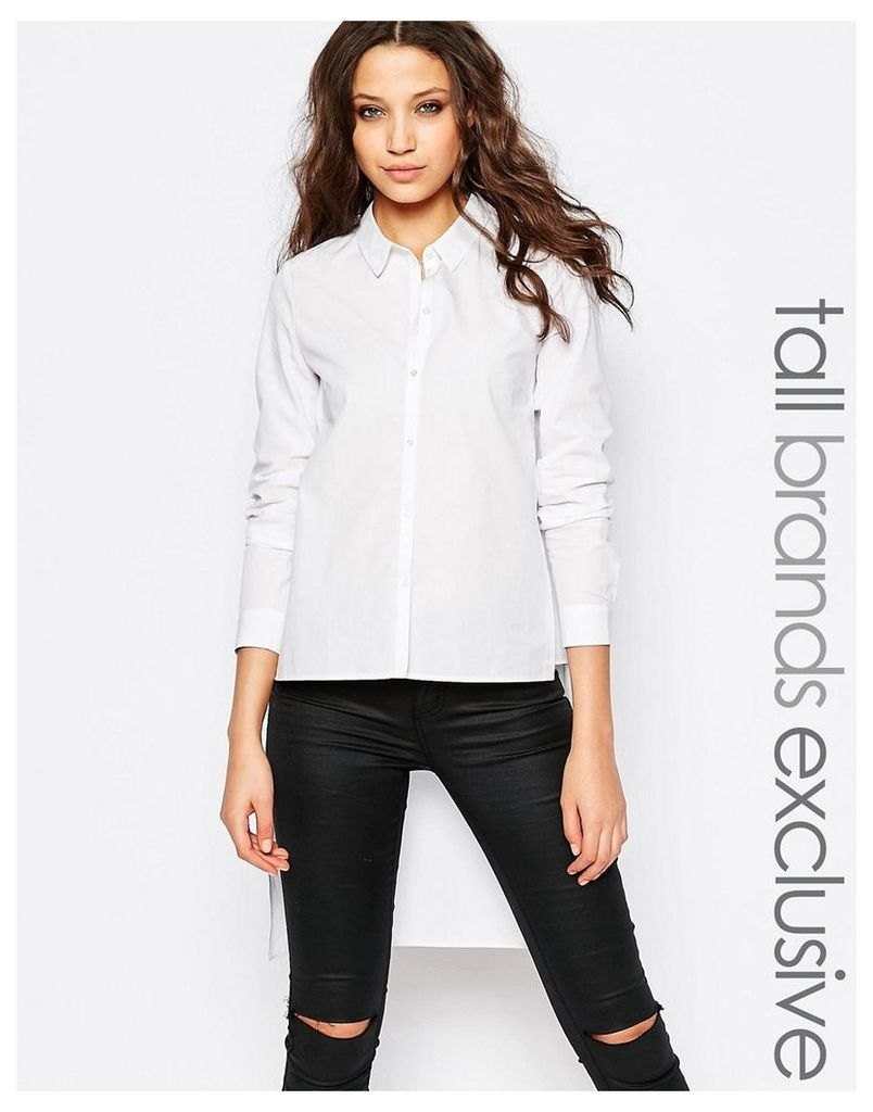 Y.A.S Tall Tailored Shirt With Stepped Hem - White