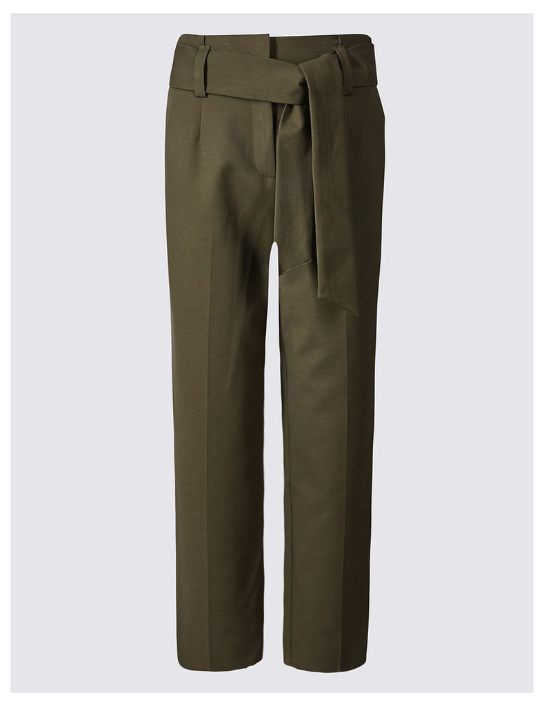 M&S Collection Cotton Rich Tie Front Straight Leg Trousers