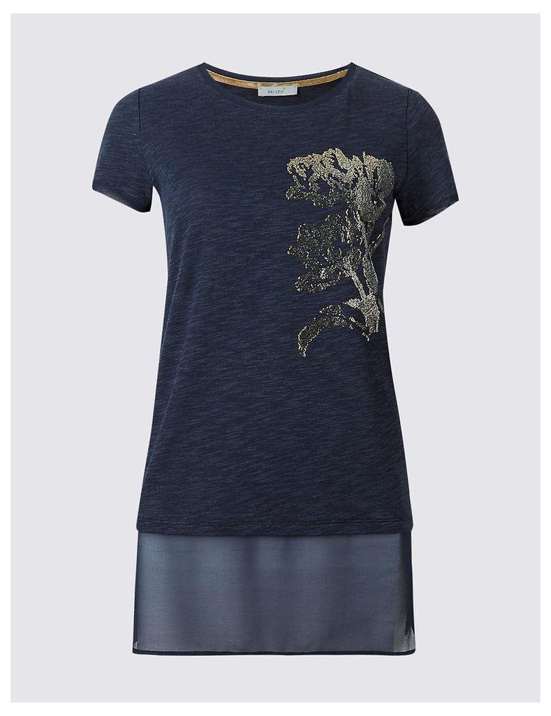 Per Una Cotton Blend Caviar Beaded T-Shirt