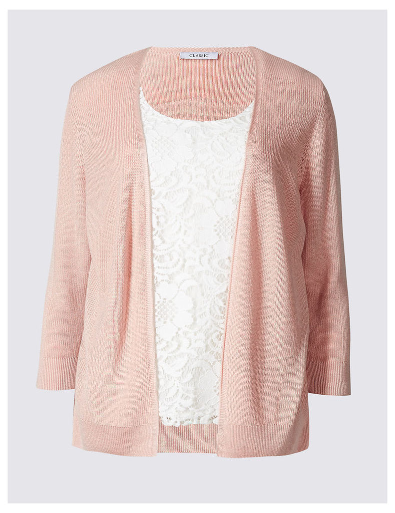 Classic Lace Front ¾ Sleeve Cardigan