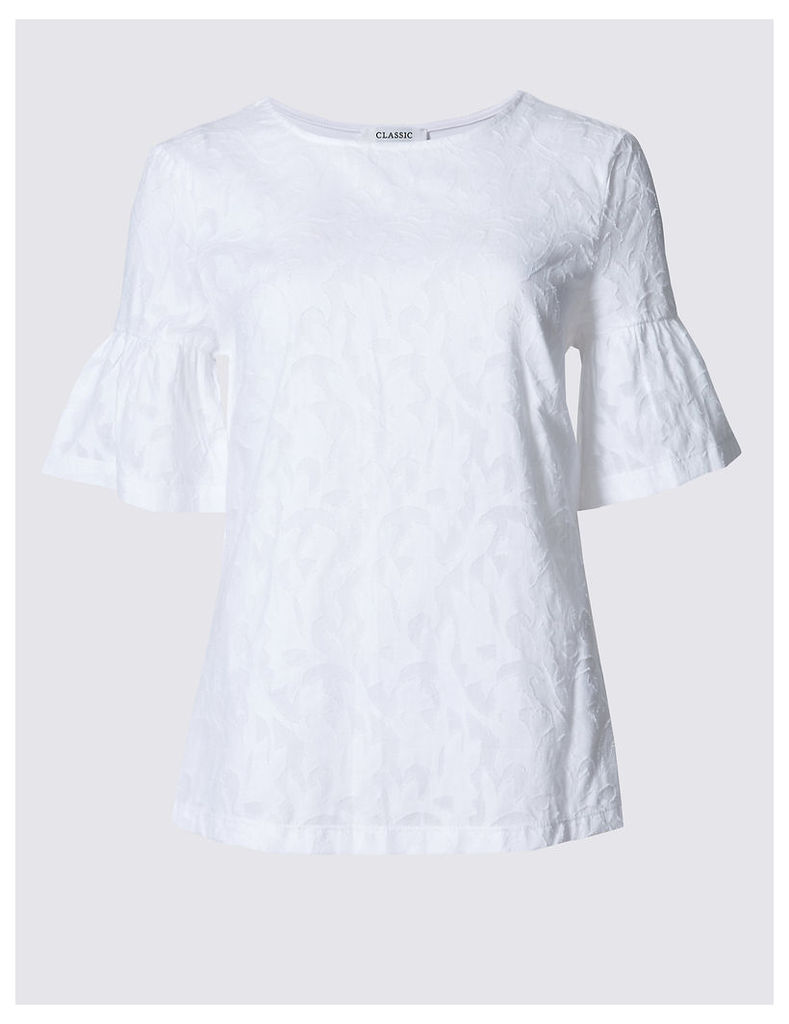 Classic Textured Flared Sleeve Round Neck T-Shirt